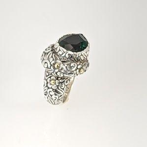 Designer sterling silver & 18k gold ring